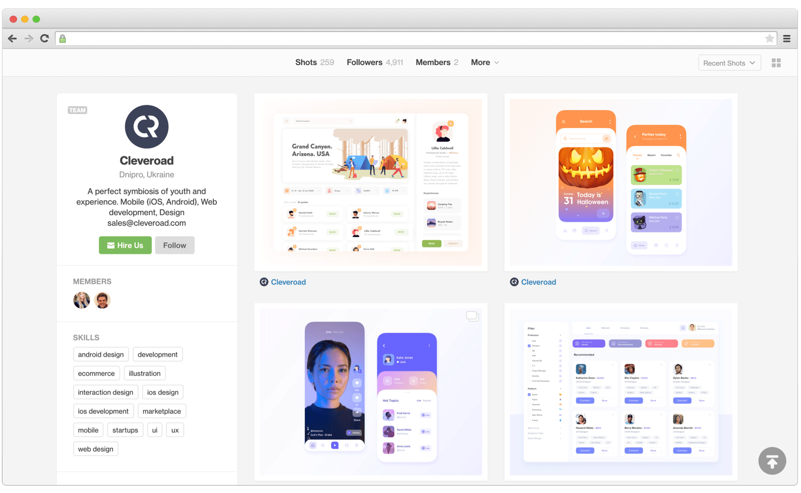 Cleveroad Dribbble profile