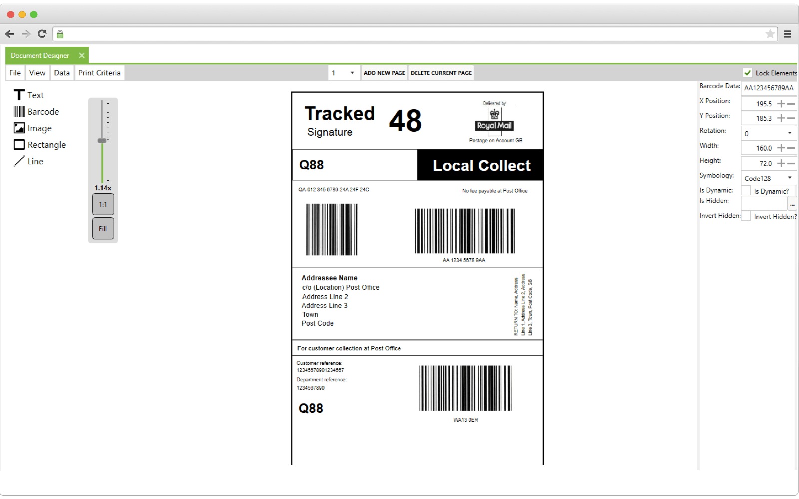 How label printing software interface looks like