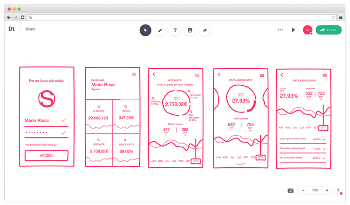 Wireframing using InVision