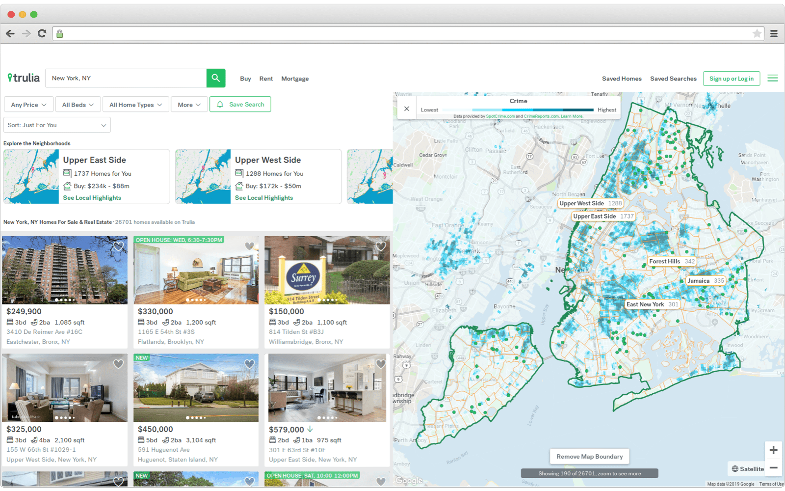 Map overlays interface on one real estate website