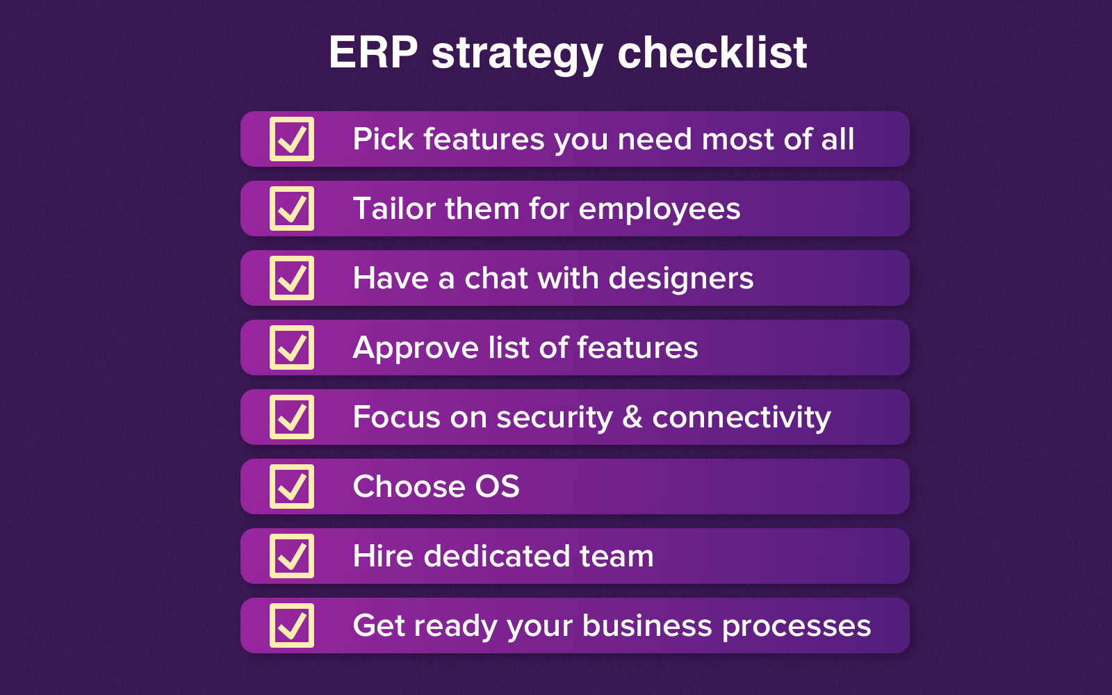 Ensure you've completed this checklist before the start of ERP mobile application development