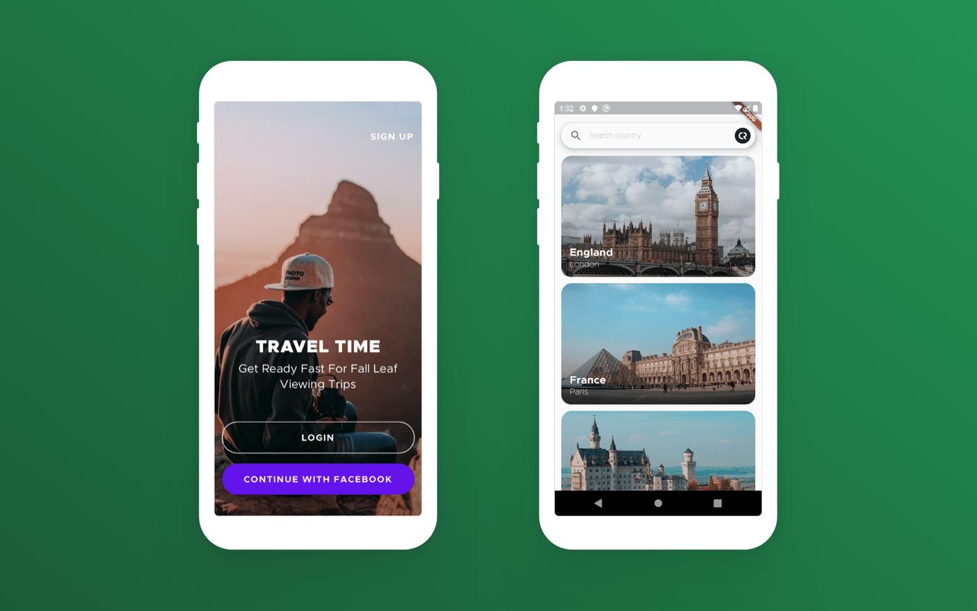 Flutter travel app