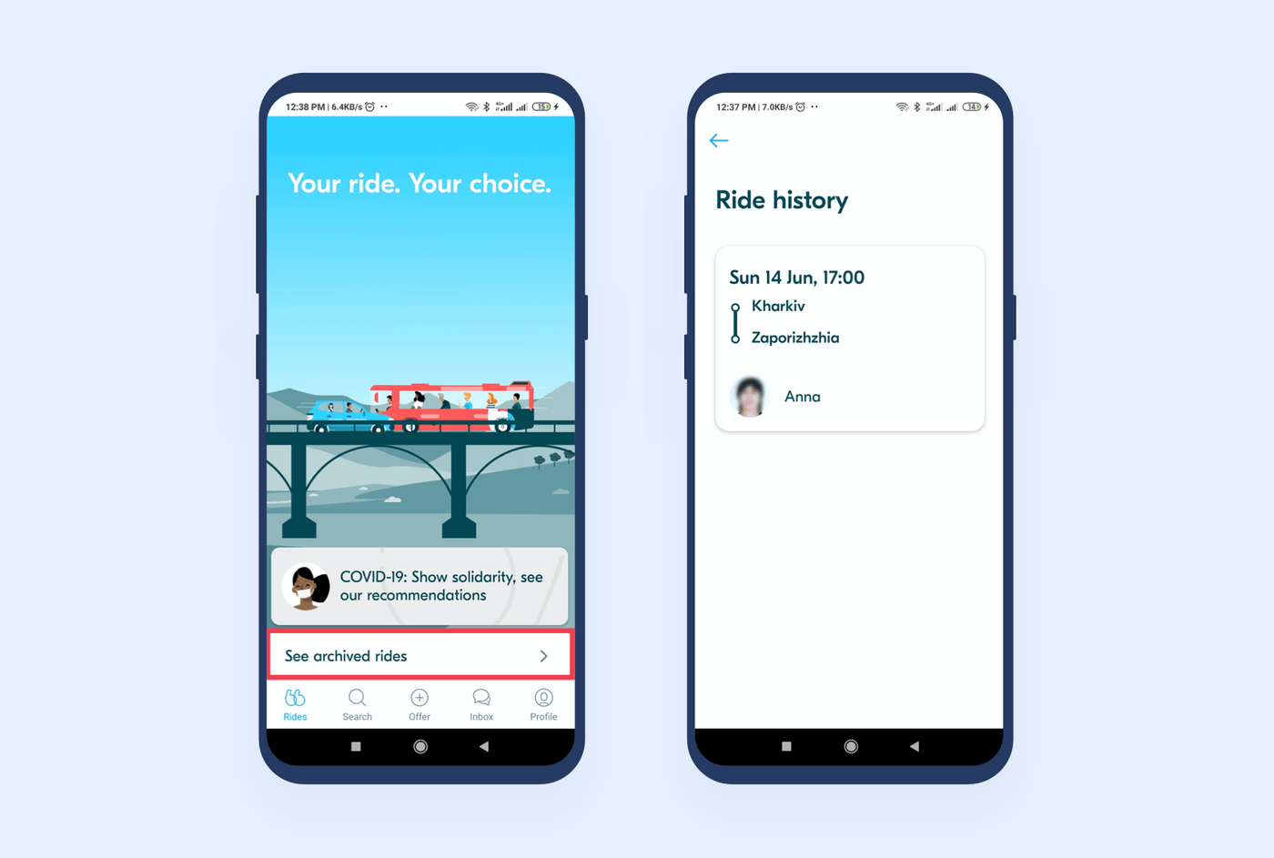 Archived rides in BlaBlaCar Android app