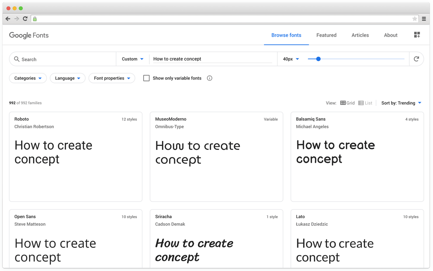 Selecting fonts with Google Fonts