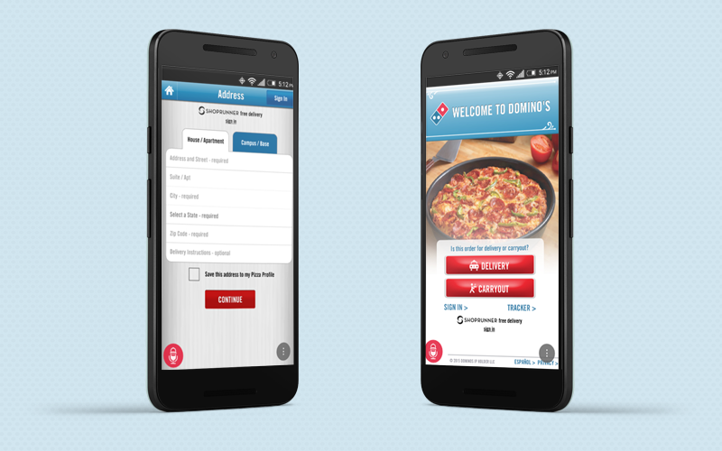 Food applications: Domino's app interface