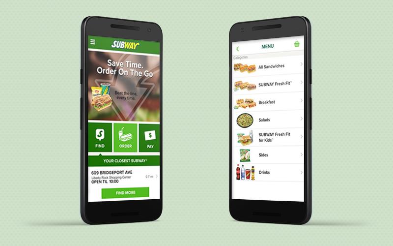 Food applications: Subways app interface
