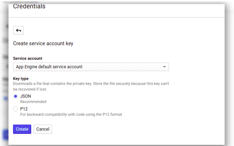 google cloud sql service account key