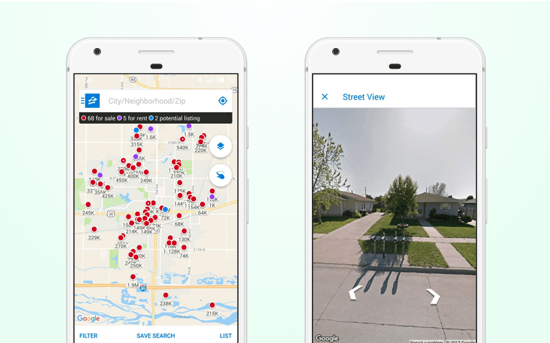 Zillow real estate app: Google Street View