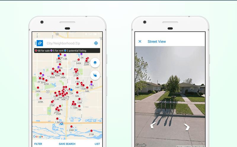 Zillow real estate app: Google Street View