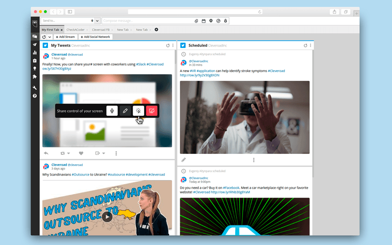 Social media monitoring software: Hootsuite