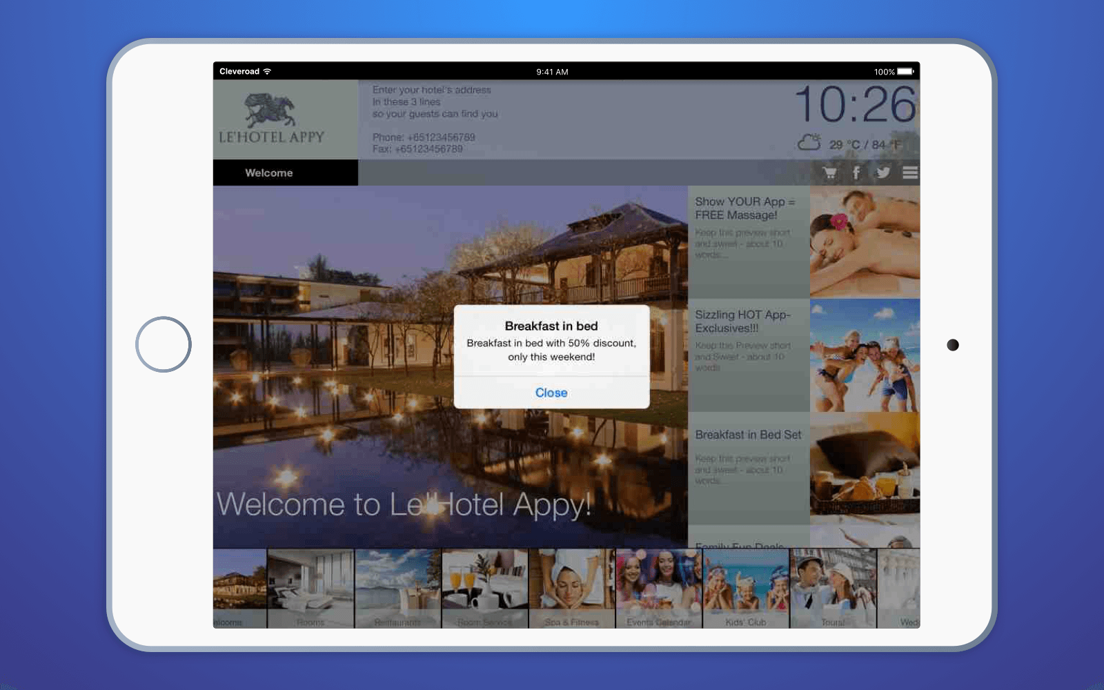 Hotel application: Push notifications