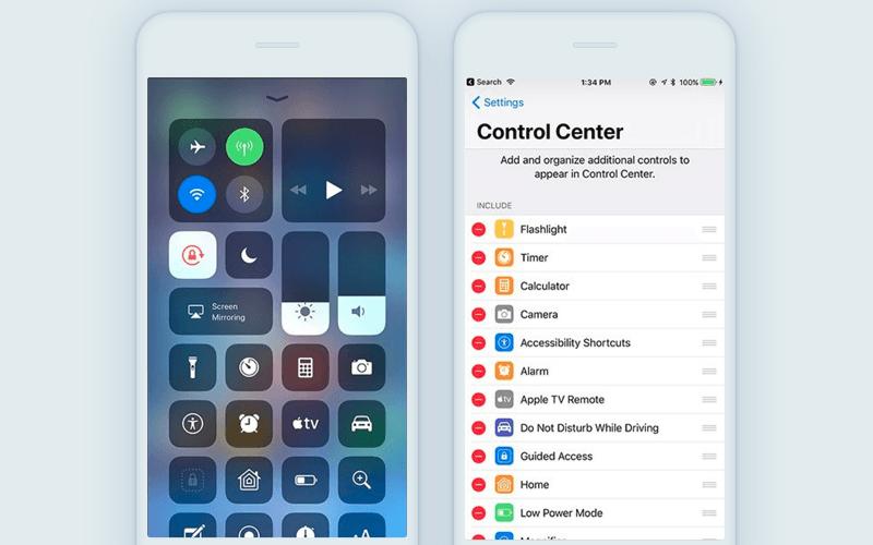 New control center iOS 11