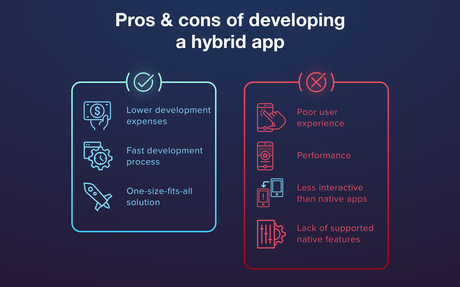 Advantages and disadvantages of hybrid approach & mobile app stack for it