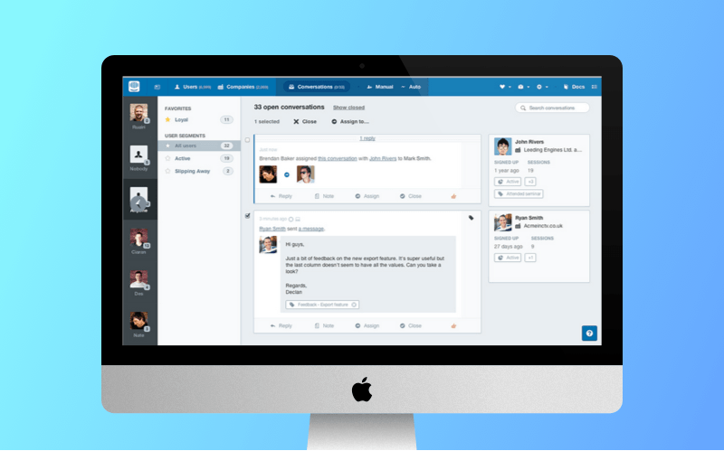 Intercom admin panel