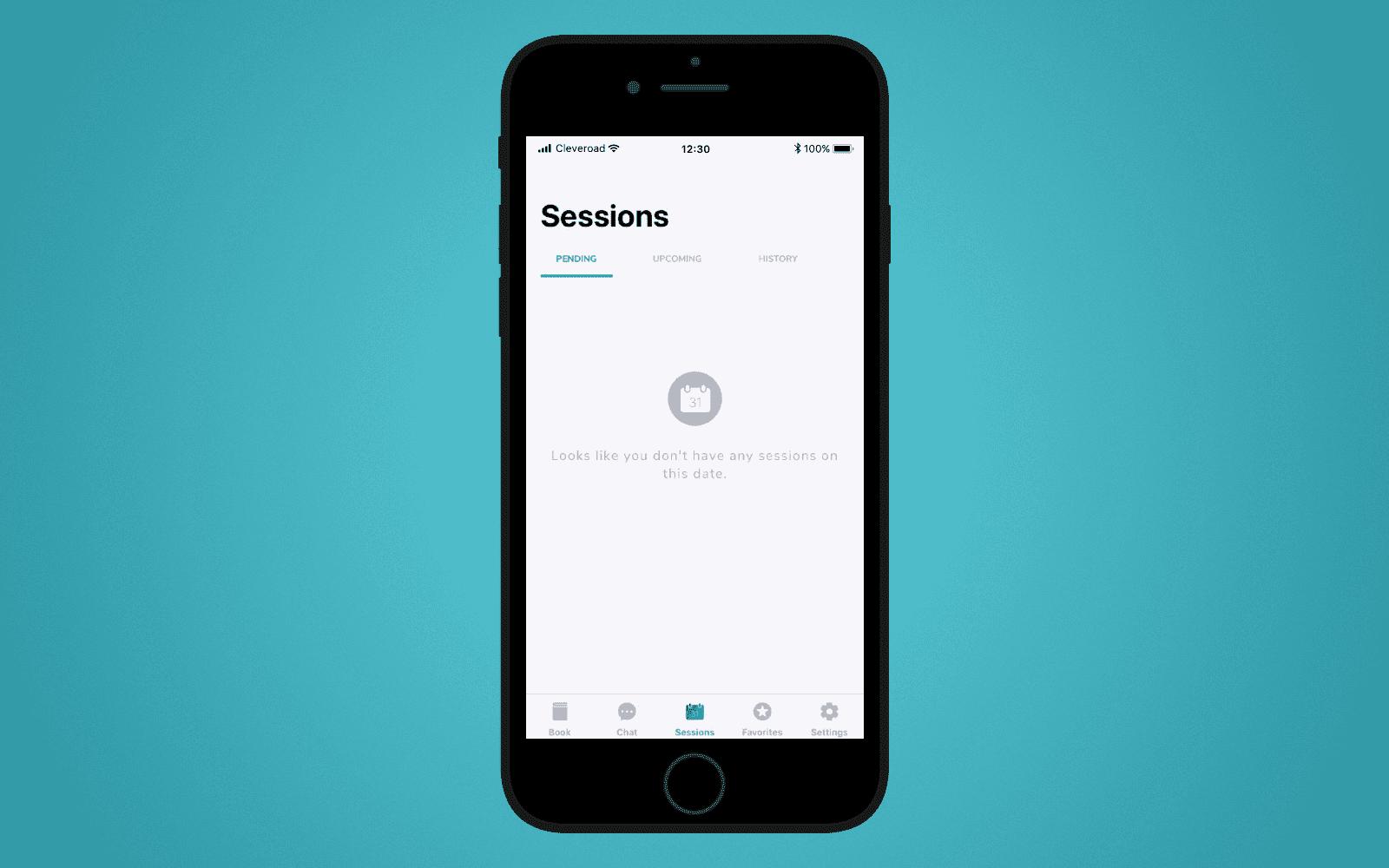 Sessions screen in LetsSurf mobile application