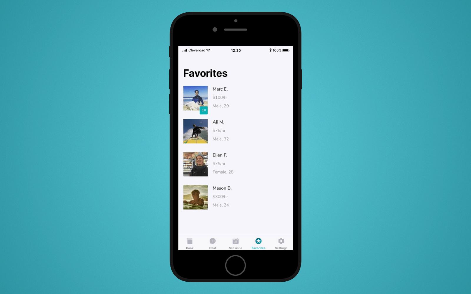 Favorites screen in LetsSurf mobile application