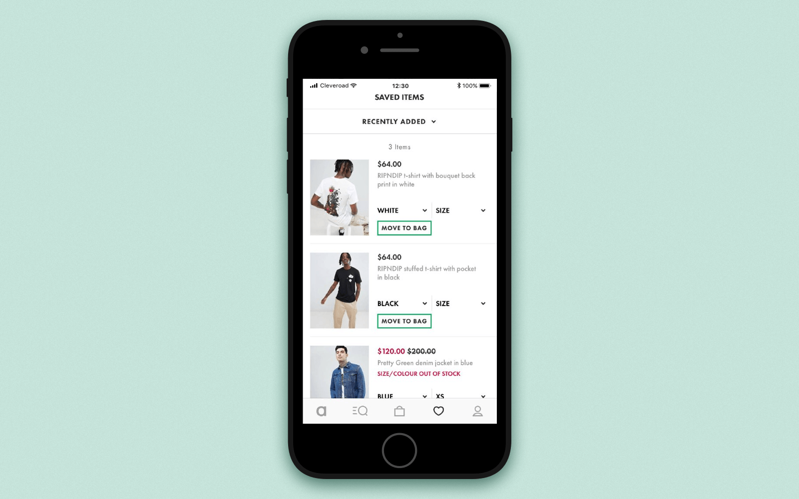 Create online shopping app with a wishlist or saved items