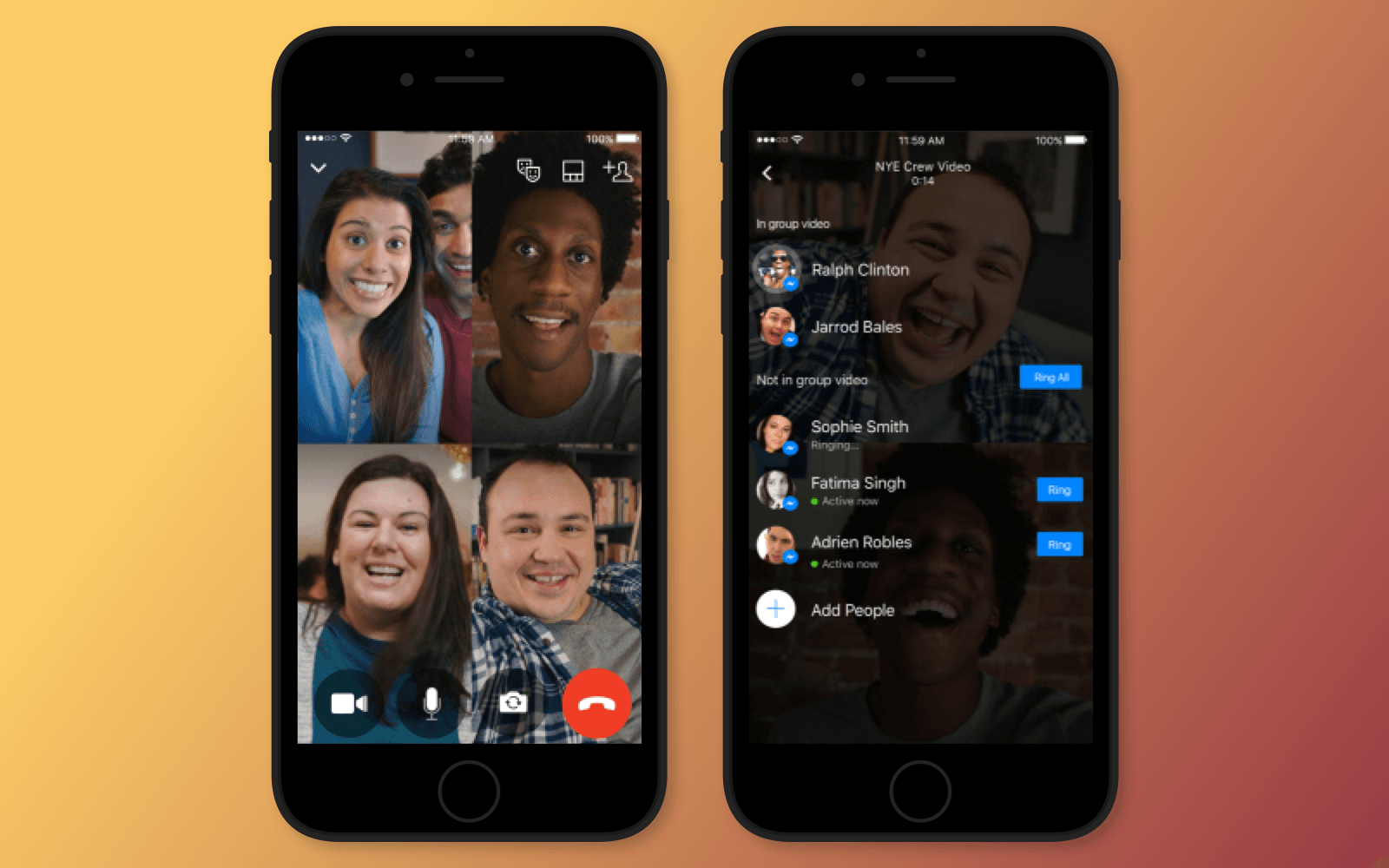 Example of group video calls on Facebook Messenger