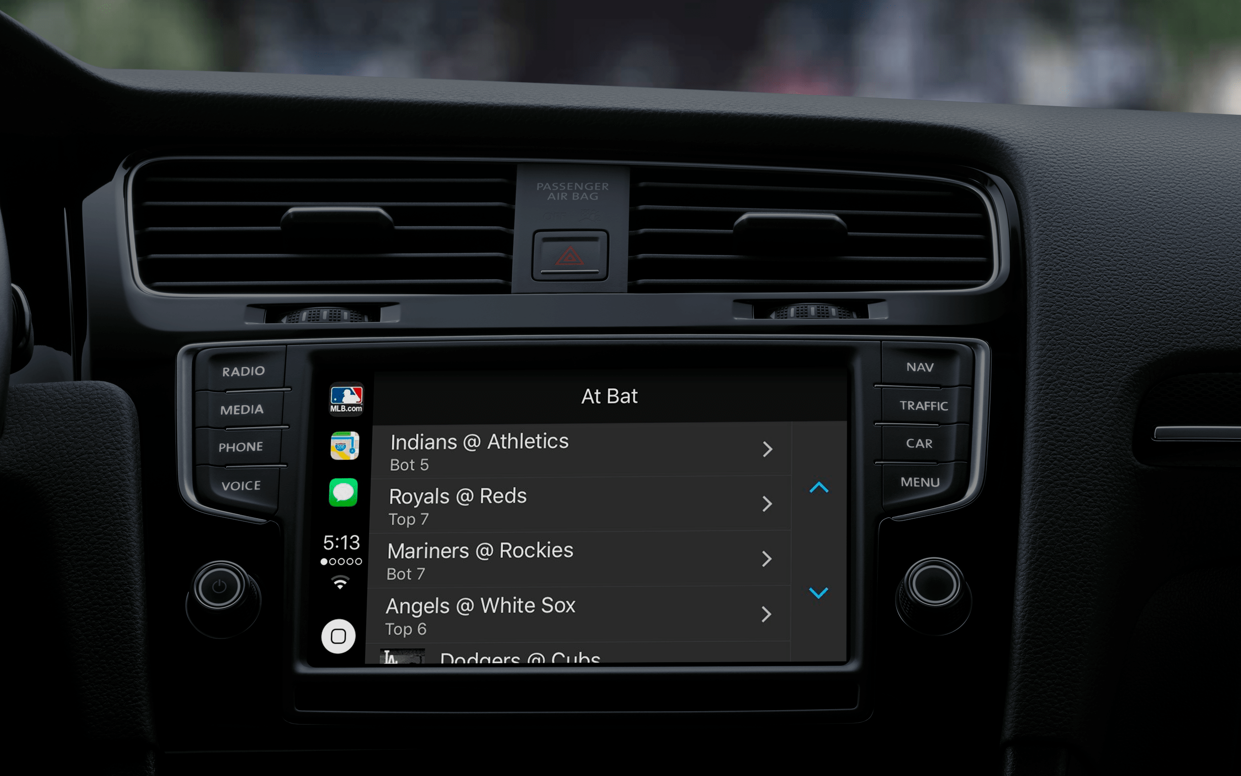 Apps supported by apple CarPlay: MLB At Bat