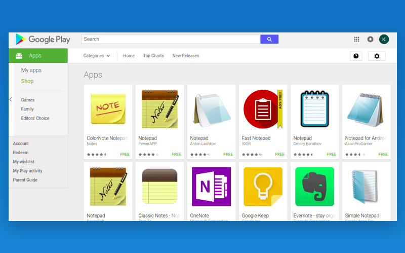 notepad icons in the store