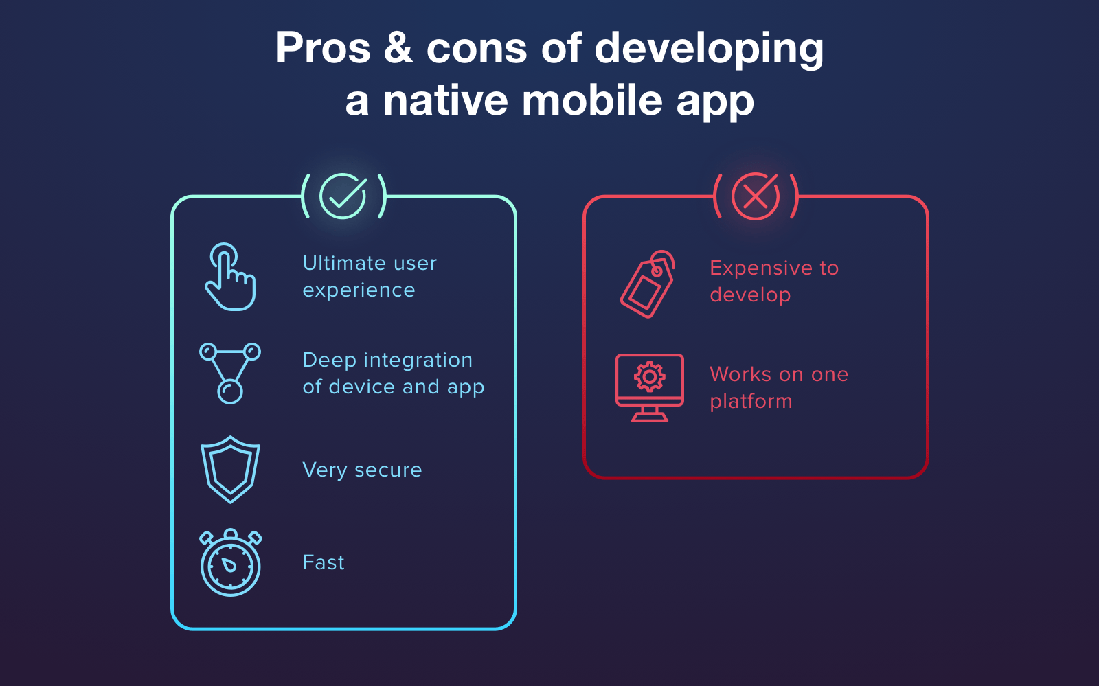 Advantages and disadvantages of native app development approach and mobile app stack for it