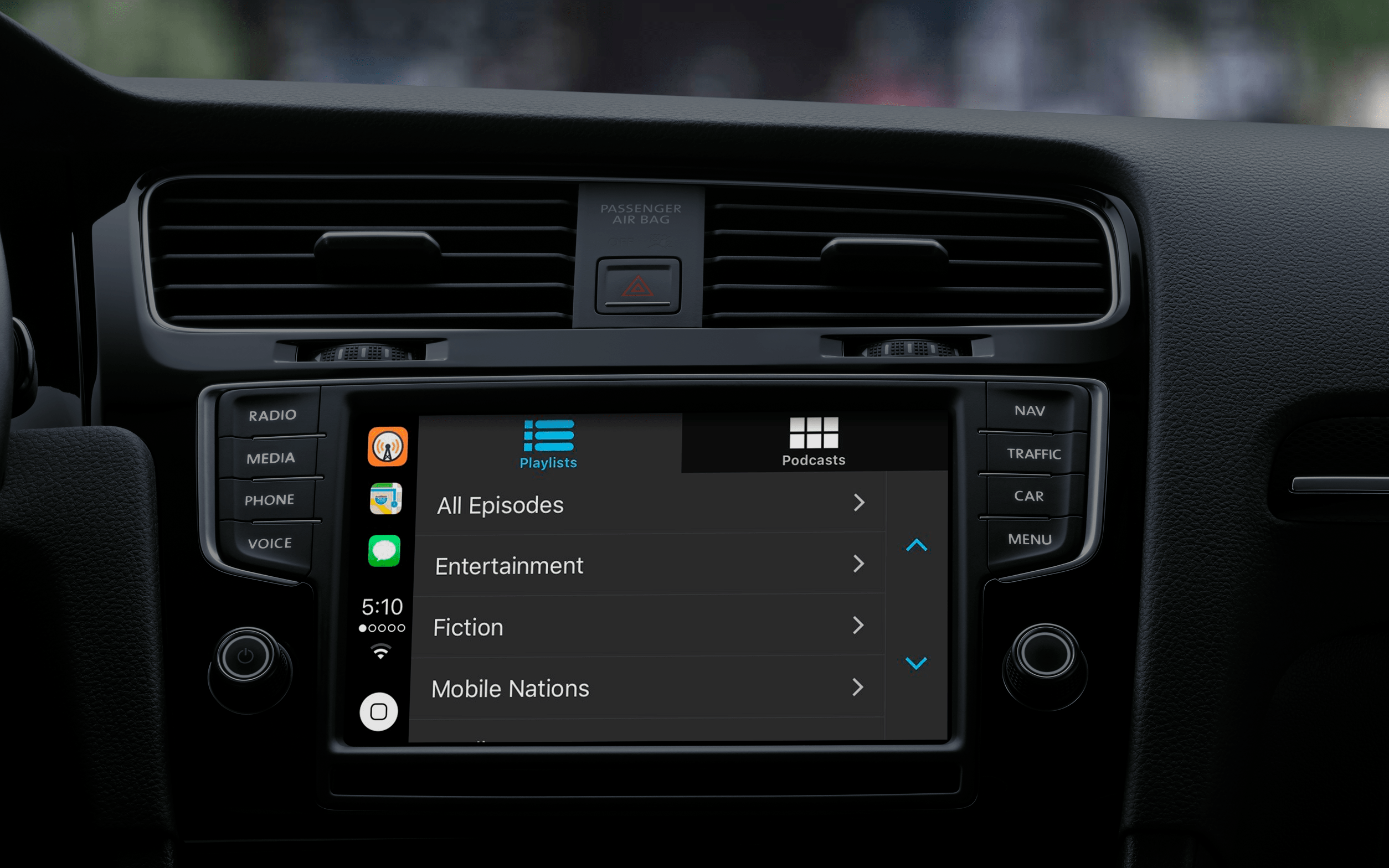 Apps supported by apple CarPlay: Overcast
