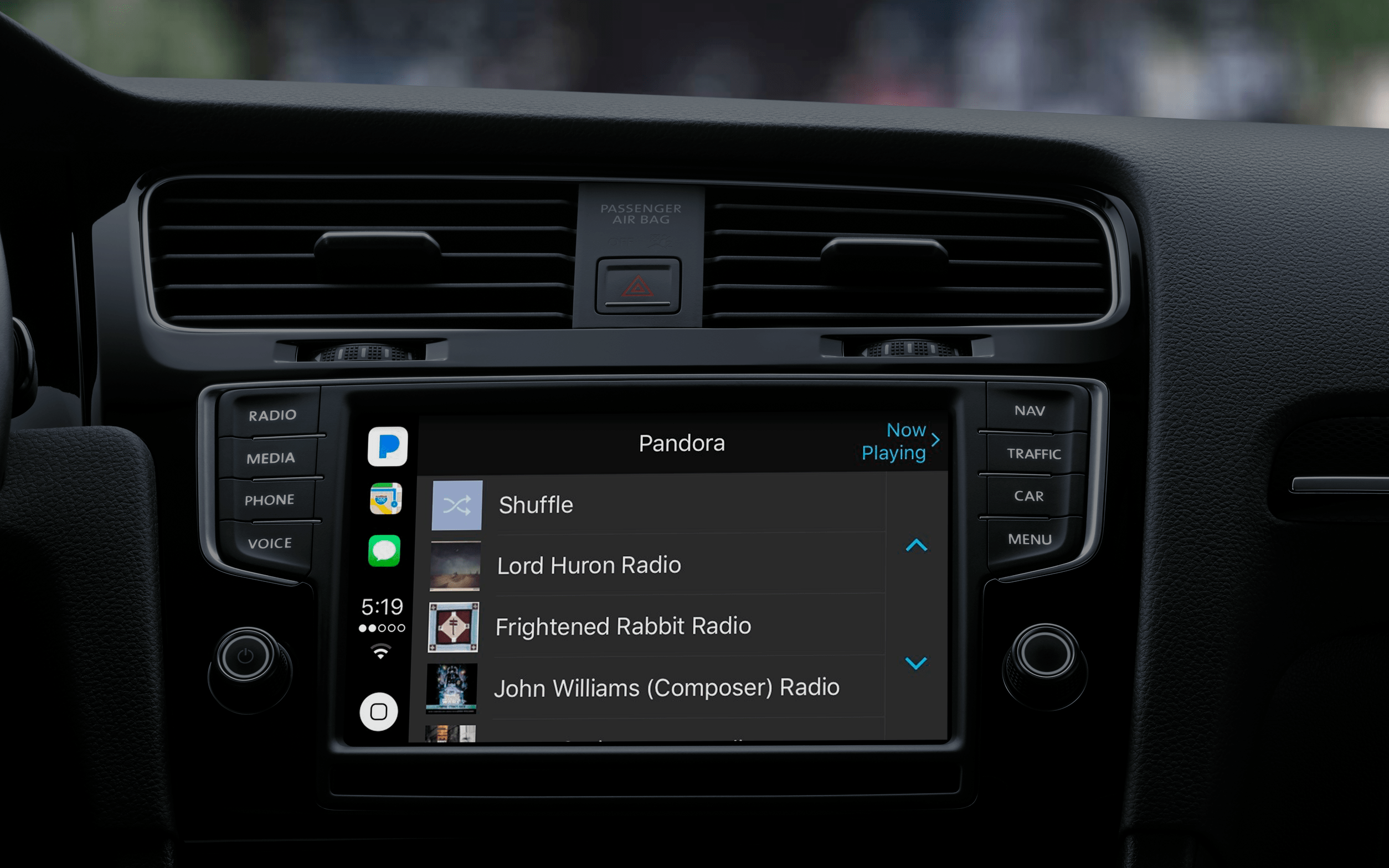 Apps supported by apple CarPlay: Pandora