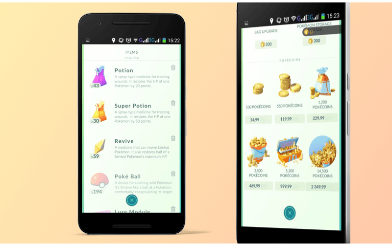 Monetization in the Pokemon Go app