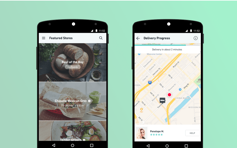 Postmates food delivery app: interface