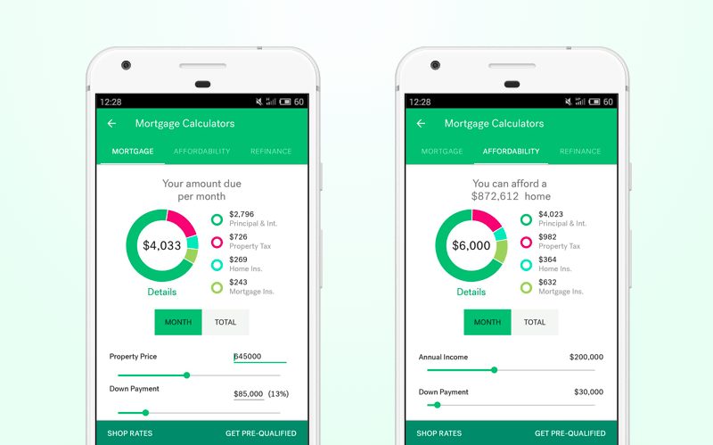 Real estate calculator app in trulia mobile app