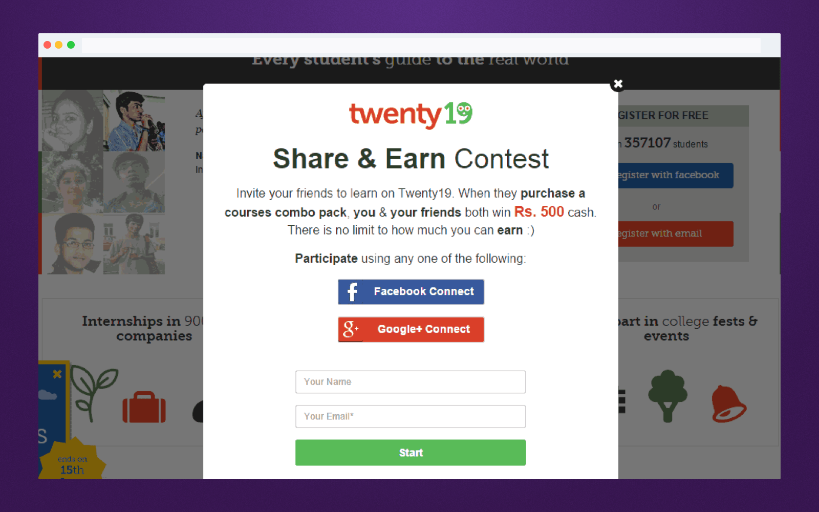 Referral program tools: Website widget