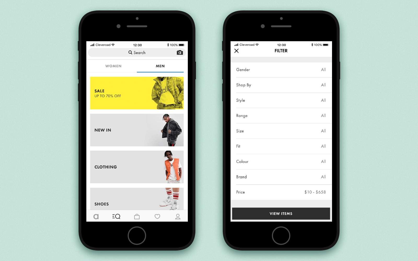 Make online shopping app with flexible search and filters