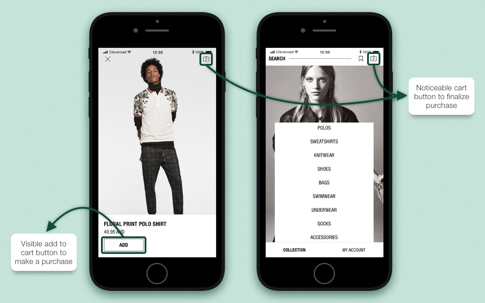 Core action elements that stand out in shopping app design
