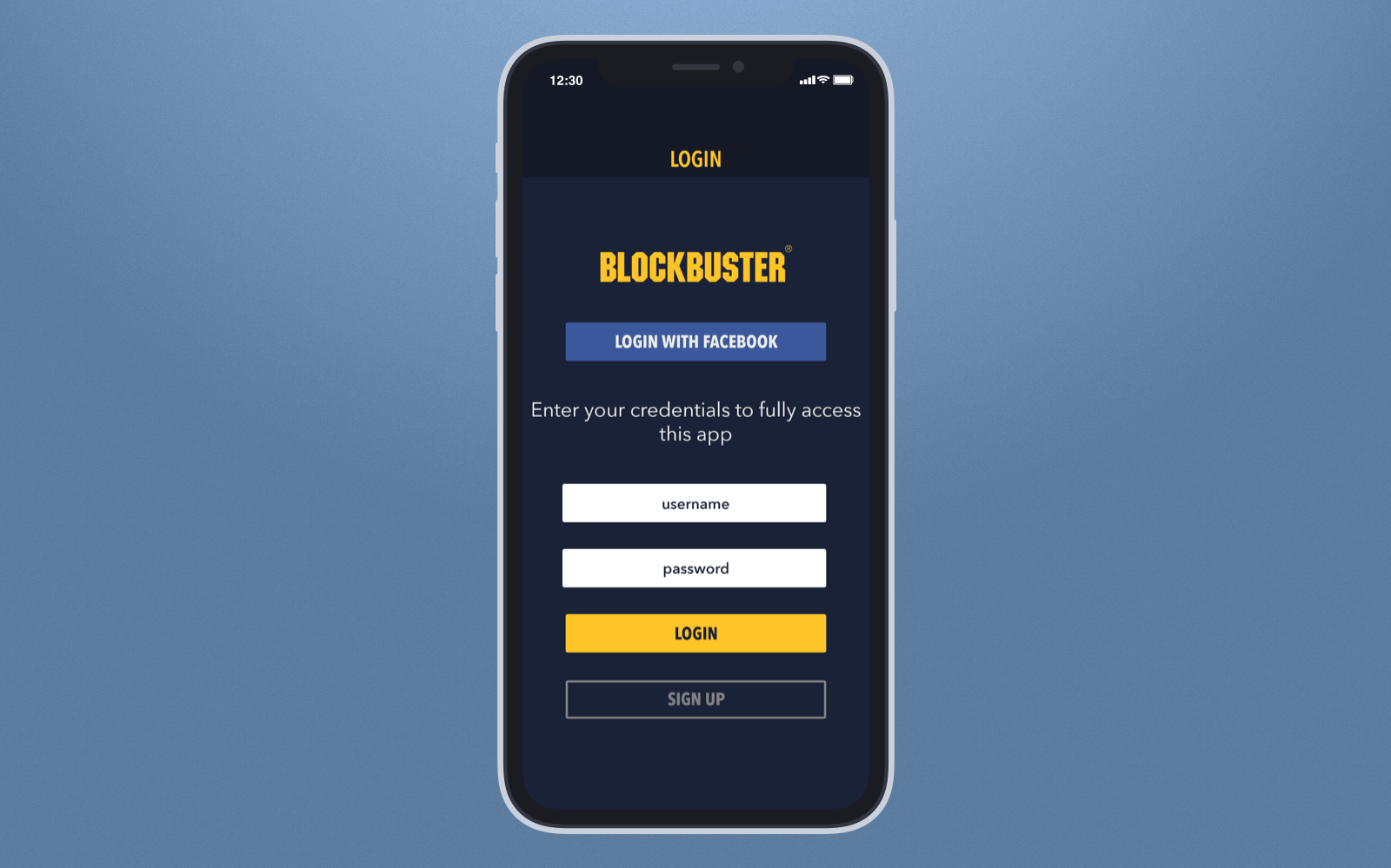 Social sign-in Blockbuster