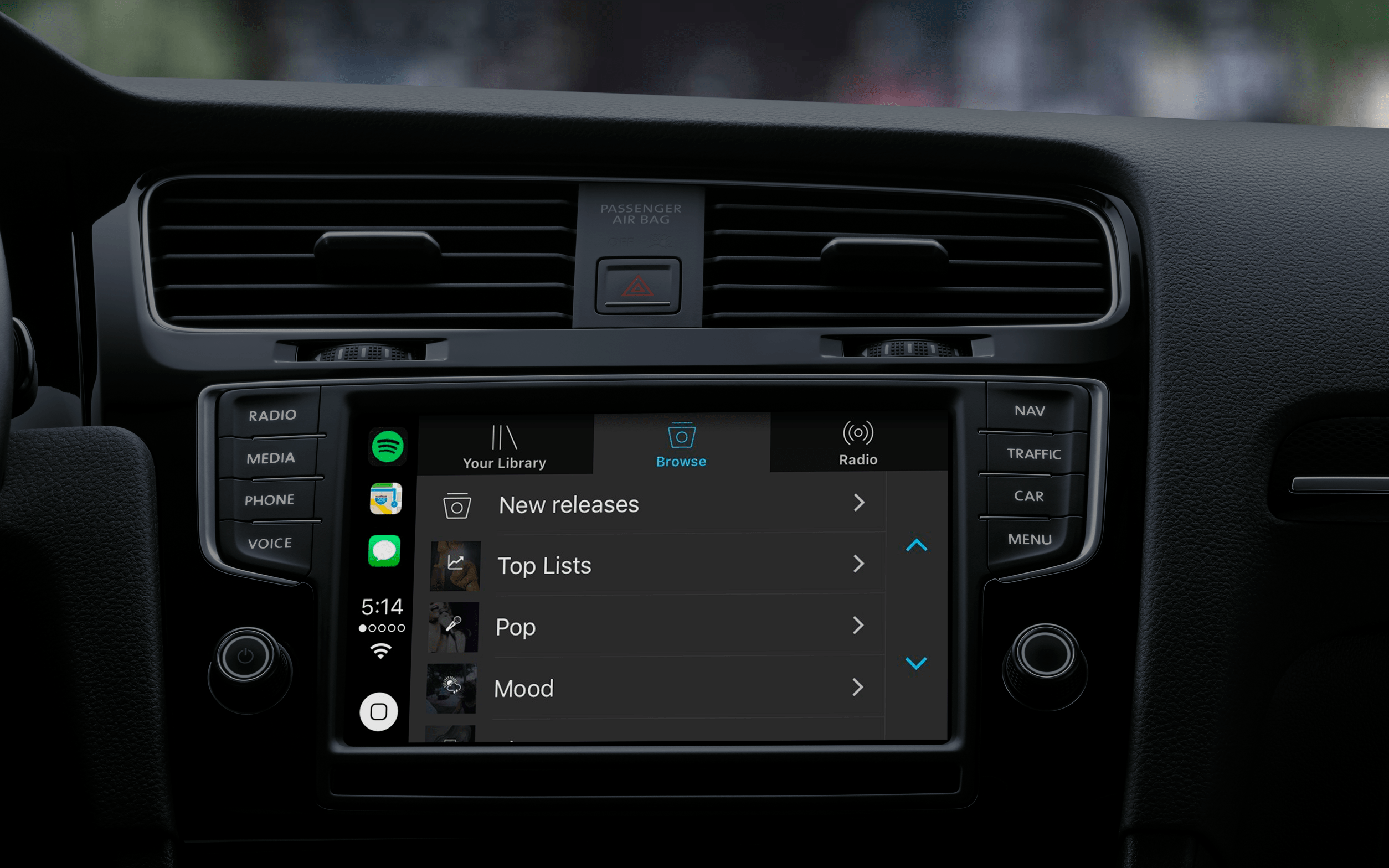 Apps supported by apple CarPlay: Spotify