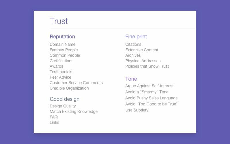 Trust components in UX process